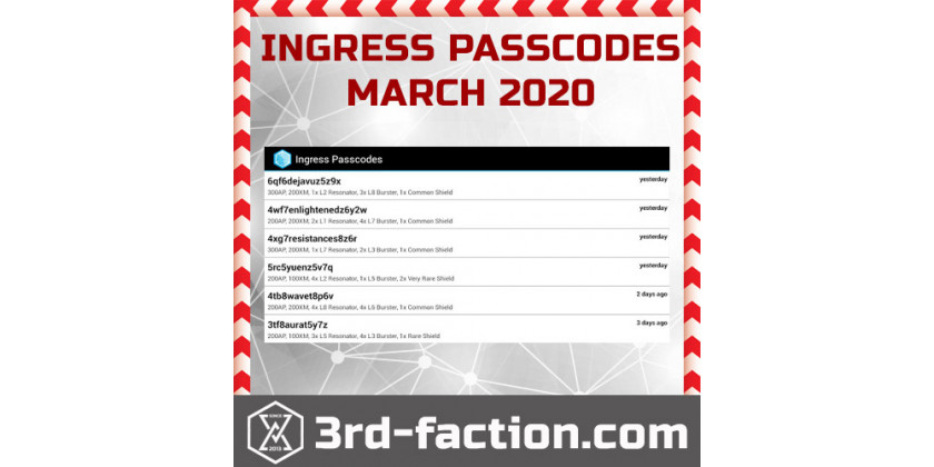 INGRESS PASSCODES: March, 2020, - get free ingress Items